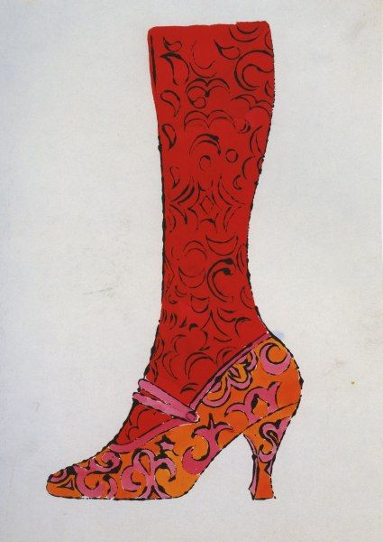 Andy Warhol:  Shoe and Leg 1956, ballpoint pen, graphite, and ink on paper,