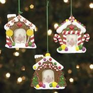 3 Resin Gingerbread House Photo Frame Ornaments | Father Christmas on Christmas.com | The OFFICIAL Site of Christmas