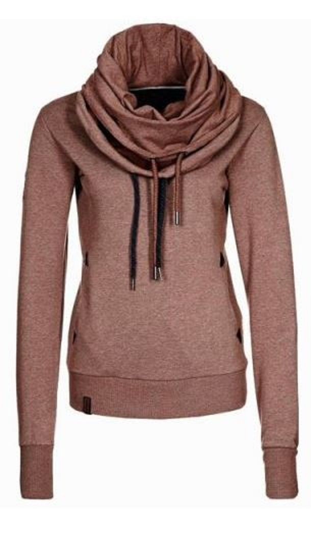 Unique Cowl Neck Hoodie Fashion! Plum Raisin Stylish Cowl Neck ...