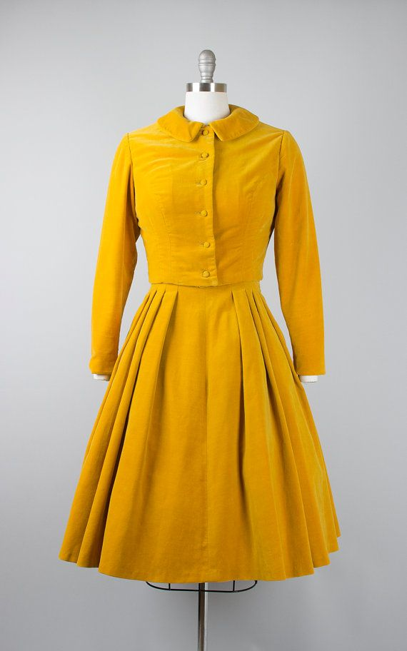 Vintage 50s Mustard Yellow Velvet Dress Set 1950s