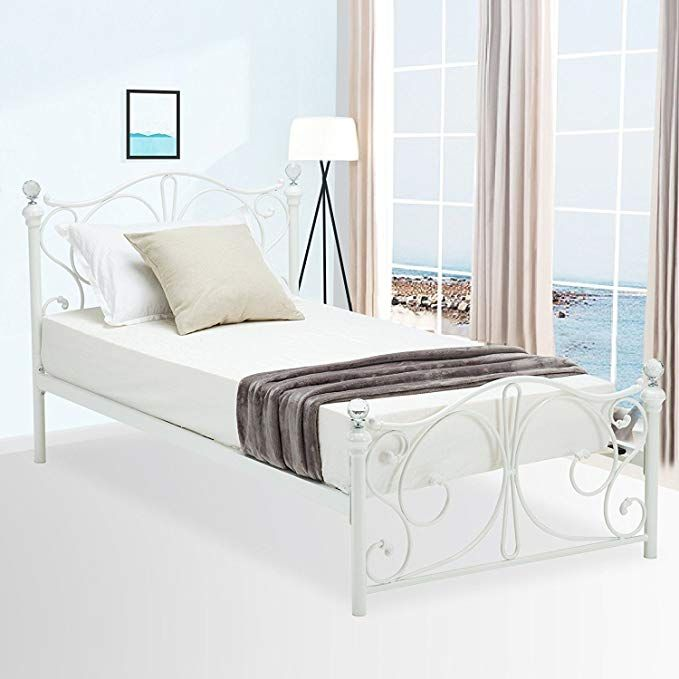 Amazon Com Mecor Twin Size Curved Metal Bed Frame Mattress Foundation Platform Bed For Kids Girls Boys Adults Wit Twin Bed Frame Bed Frame Beds For Kids Girls