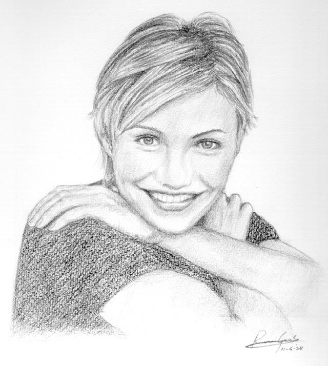 Celebrity art pencil drawings of famous celebrities cameron diaz