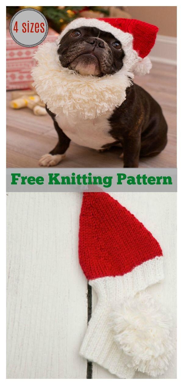 Pet Santa Hat Free Knitting Pattern Knitting Patterns Free Dog Knitting Patterns Knitting Patterns For Dogs