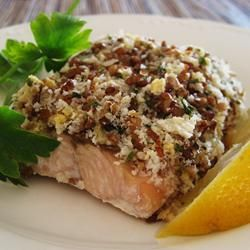 Alaska Salmon Bake with Pecan Crunch Coating Allrecipes.com - changes: use Extra virgin Olive Oil instead of butter and use panko