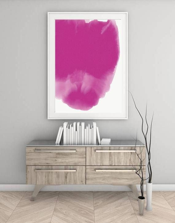 Digital Pink Floral Watercolour Abstract Art Print - Large Pink Watercolour Abstract Wall Art - Printable Pink Watercolour Abstract Floral