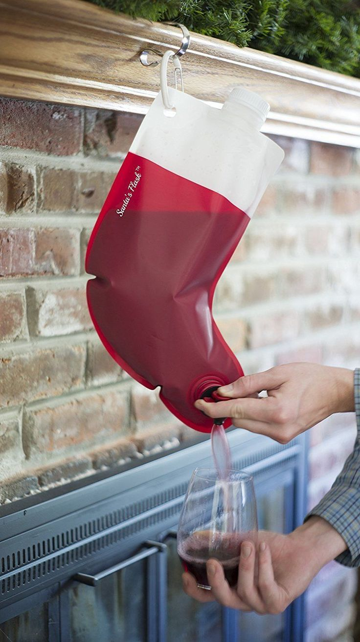 Wine dispenser Christmas stocking. A stocking that pours wine!