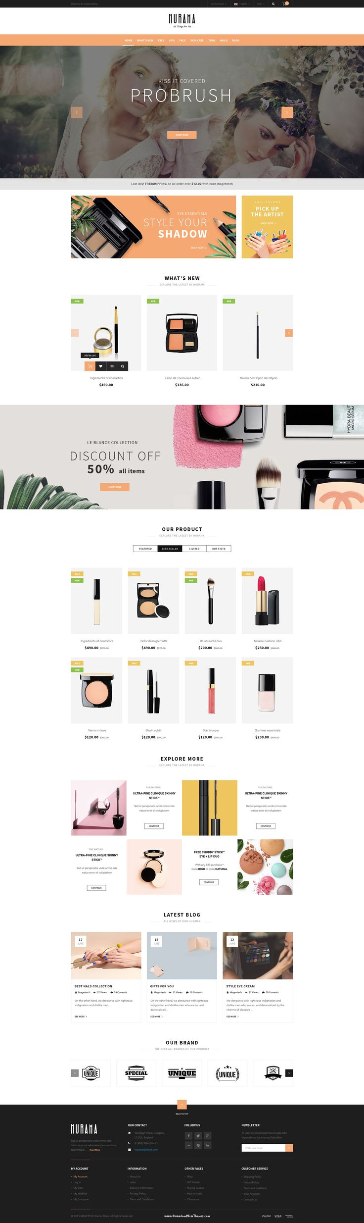 Hurama – an exquisite Opencart theme has everything you need to #cosmetics store. Plus, 2 homepage layout options and tons of uniquely outstanding features are waiting you to boot your store. #makeup #opencarttemplate #website
