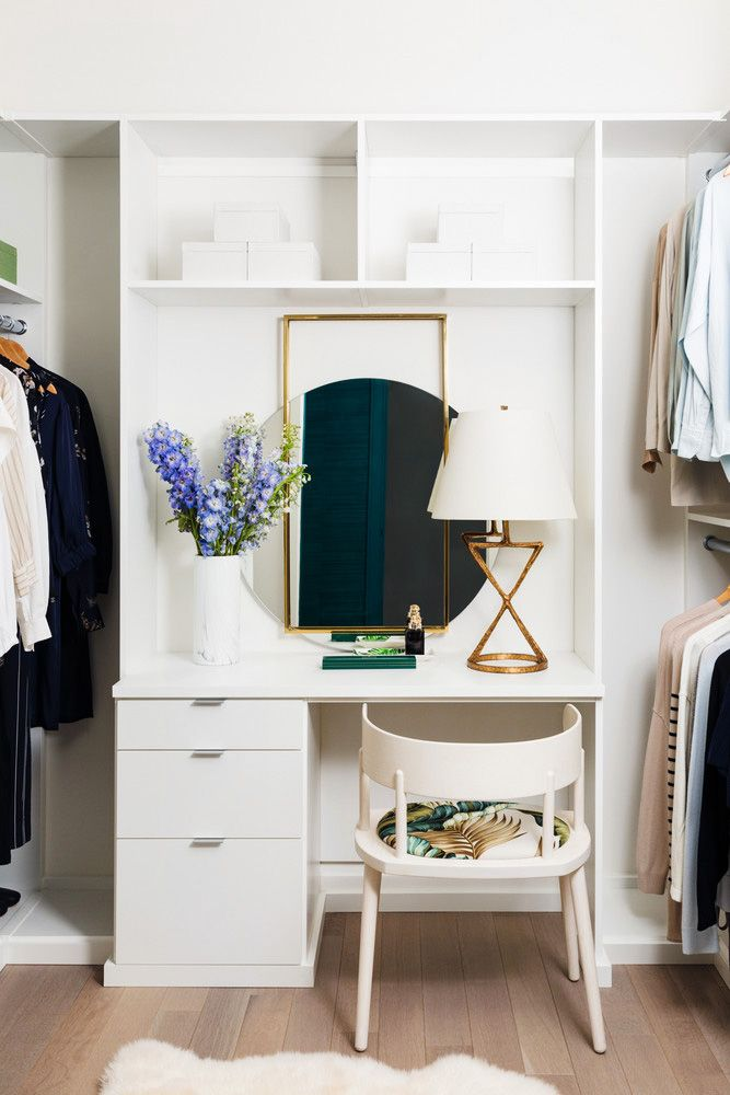 Playful Hues In A Manhattan High Rise Closet Designs Master Closet Design Built In Vanity