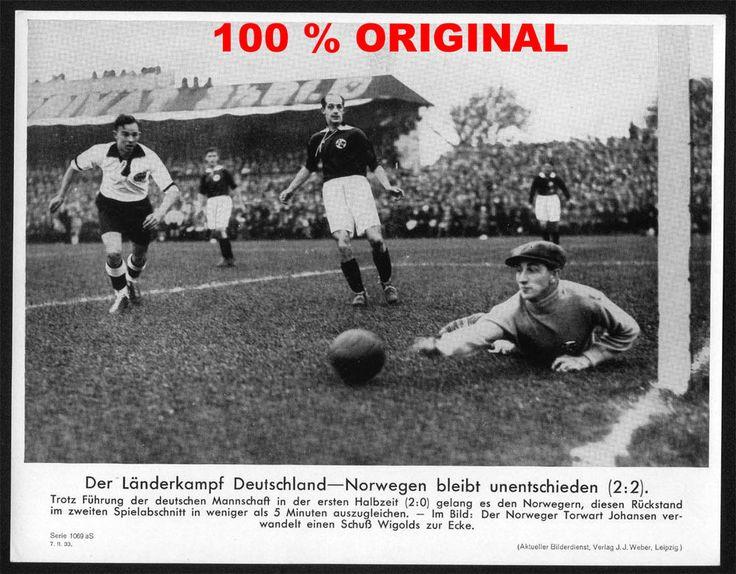 orig WK2 PRESSE FOTO - PRESSEBILD 1933 FUSSBALL LÄNDERSPIEL Deutschland Norwegen