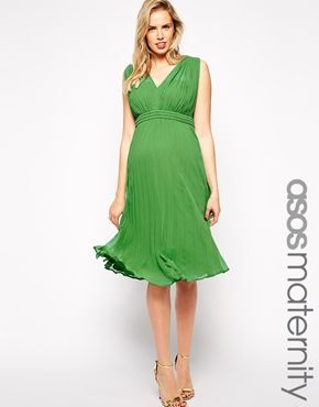 ASOS Maternity Pleated Midi Dress with Plunge Neck