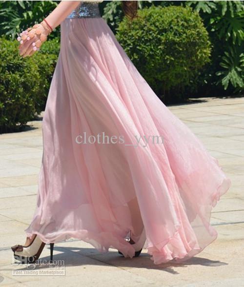 Wholesale 2012 Top quality fashion chiffon long skirt casual skirt women evening party dress lower garments, Free shipping, $7.84-11.33/Piece | DHgate
