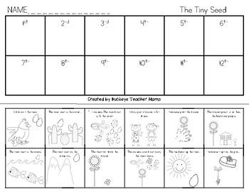 "Sequence the story ""The Tiny Seed"" by cutting out the pieces and pasting them in order. This activity can be used for individuals, small groups, or as a whole group activity."