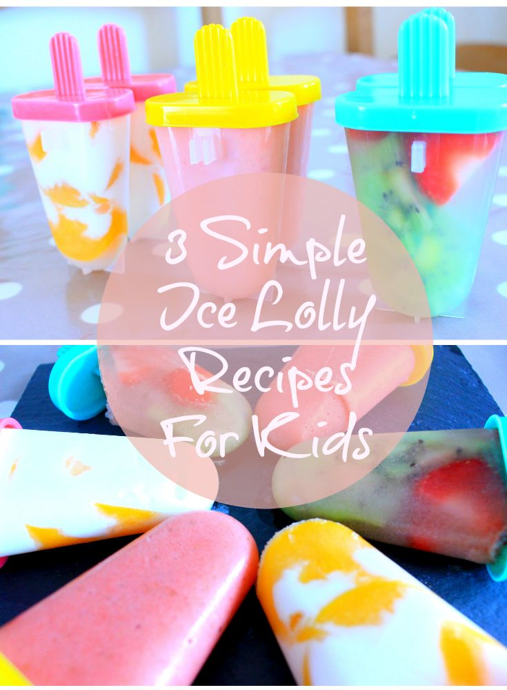 Home made simple ice lolly recipes. Perfect snack on a hot day for children. Healthy ice lolly recipe.