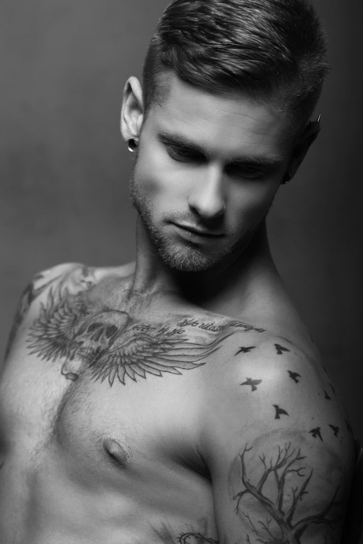 75 black and white tattoos for men masculine ink designs - Cool Wing And Skull Tattoo On Chest For Men