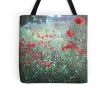 Red wild poppy flowers on green Hasselblad square medium format film analogue photograph Tote Bag