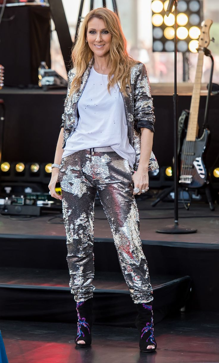 Celine Dion continues her unstoppable style tour with seven fire looks in 24 hours (!). Our fave of the lot—which also wins her best dressed of the week—is this sequined outfit. With the help of her stylist, Law Roach, Dion paired the outfit with Giuseppe Zanotti booties and a plain white tee.