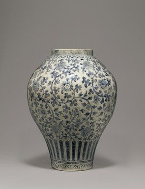 Japanese: A rare and important blue and white porcelain jar, Joseon Dynasty (18th century), 19 5/16in. (49cm.) high; 14 15/16in. (38cm.) diameter. Est...