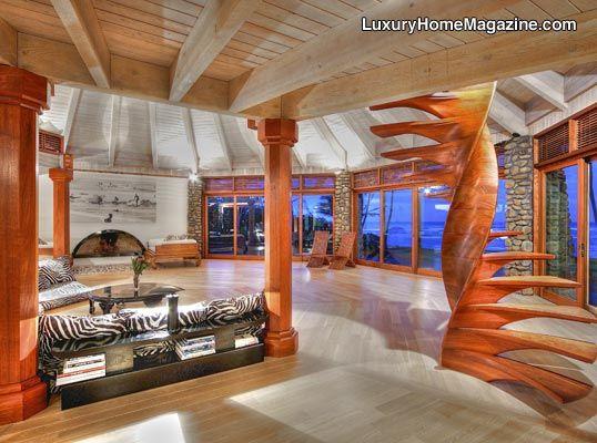 Oceanfront Estate With Unique Interior Decor #luxury #homes #hawaii #house # Design Part 97