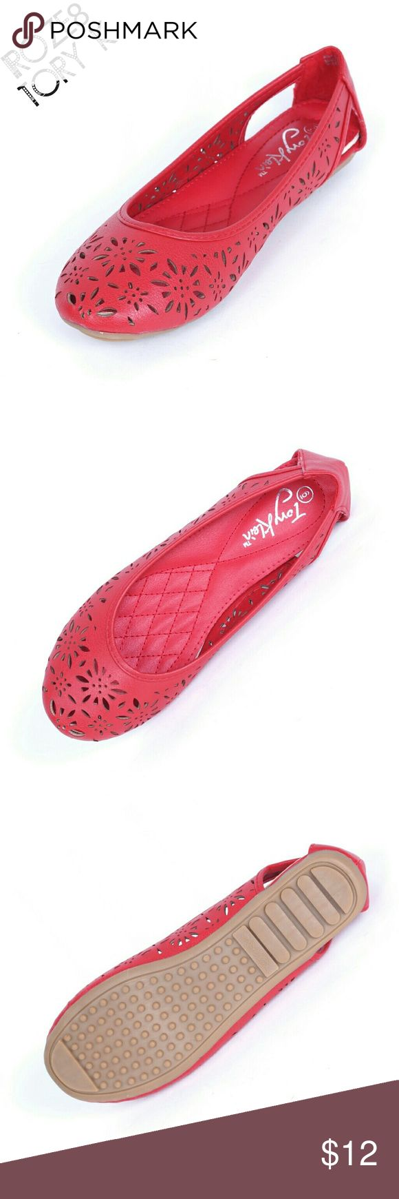 "Tory K Women Perforated Design Flats, b-1611, Red Brand new Tory K ein red woman ballerina flats with almost a sandal like airy quality. Soft cushioned sole. Bubbled bottom sole for extra traction. A true staple in ladies shoes fashion! Measurements: size 7 measures 9.5"", sz 7.5 - 9 3/4"", sz 8 - 10"", sz 8.5 - 10 1/4"", sz 9 - 10.5"", all half sizes are in 1/4"" increments of each other. Tory K  Shoes Flats & Loafers"