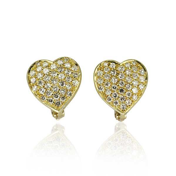 Diamant-Ohrstecker Herzen mit 1,923ct Diamanten in 585 Gold Brillantes Herz! Verschaffen Sie sich den Nimbus der Extravaganten und stecken Sie diese Ohrstecker an.  Herzohrringe in 14 kt Gelbgold für Trägerinnen, die einen dezenten und eleganten Look lieben. Je Ohrring funkeln 36 Diamanten mit insgesamt 1,923 ct.#vintage #jewels #schmuck #ohrring #schmuckboerse