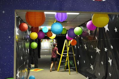 Black sheets with stars to decorate for Outer Space celebration.