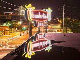 """At the edge of Savannah's Historic District, at """"the intersection of yes ma'am and dude"""" the retro Thunderbird Inn stands as a fun-loving inn for the visitors who appreciate the mod life. This swinging, two-story motor lodge, built in 1964, is a classic, lovingly restored roadside motel. A classic neon sign, with two winged, glowing Thunderbirds, beckons motorists rambling into town along Route 25."""