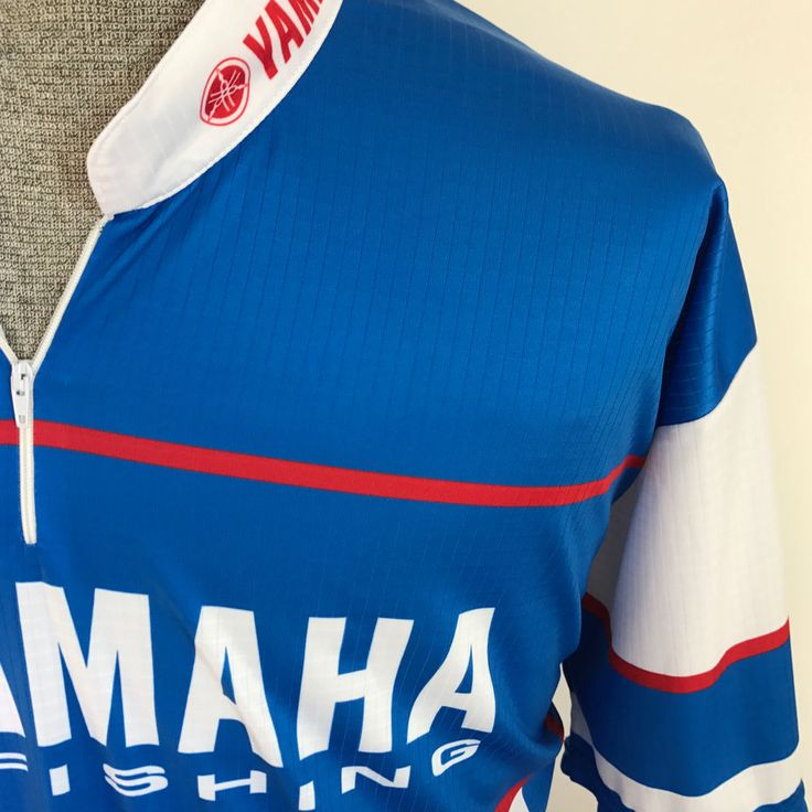 #Yamaha Pro #Fishing Shirt  XXL. Pullover Zip  Blue White Red  #Jersey #Yamaha #PoloShirt