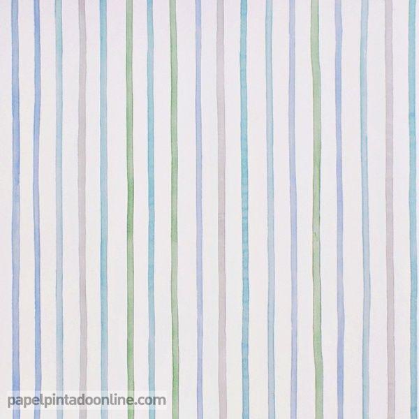Papel pintado infantil summer camp 7276 03 09 de rayas - Papel pintado rayas verticales ...