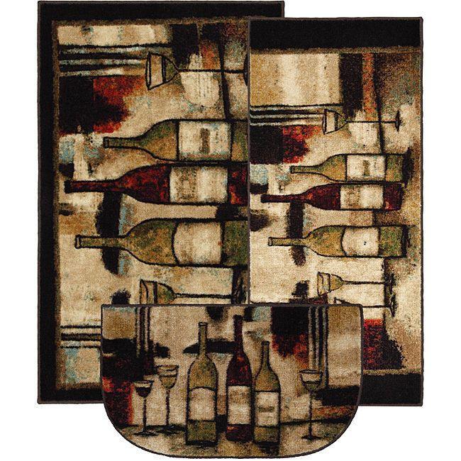3 Pc Kitchen Rug Set Wine Bottles Carpet Rugs Home Decor