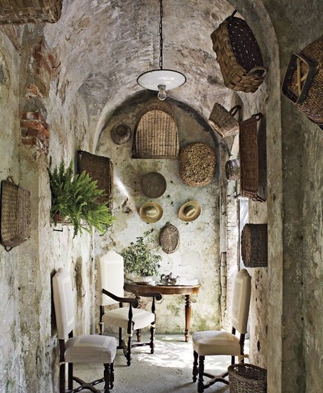 Baskets (hang them in reach to still use them, and check into faux finishing parts of kitchen walls to look like this)