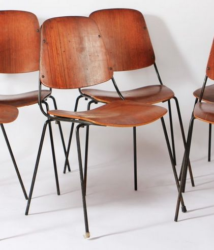 Augusto Bozzi; Molded Plywood and Enameled Metal Chairs for Saporiti, 1950s.