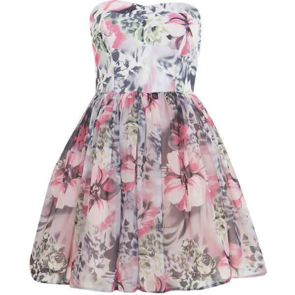 Petites Printed Prom Dress (€35) ❤ liked on Polyvore featuring dresses, vestidos, robe, pink, cocktail prom dress, petite dresses, prom dresses, pink chiffon dress and petite prom dresses