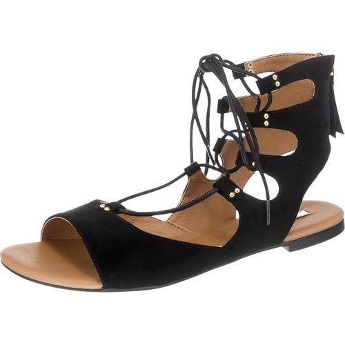 Die ESPRIT Pepe Sandaletten sind im Stil der modischen Römersandalen designt. Das Obermaterial im Wildlederlook harmoniert gut mit den goldenen Nietendetails.