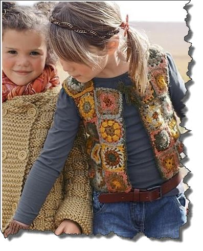 Crochet Square Girls Vest  - No pattern - but would be easy
