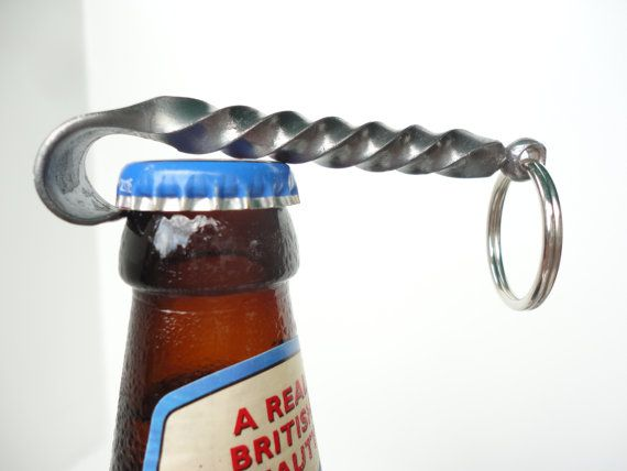 Blacksmith made Bottle Opener Keychain -- Twist and Finial design -- great gifts for Groomsmen, Usher gift