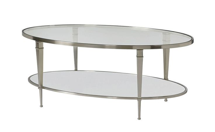 Mallory Silver/Glass Oval Transitional Cocktail Coffee Table #Hammary
