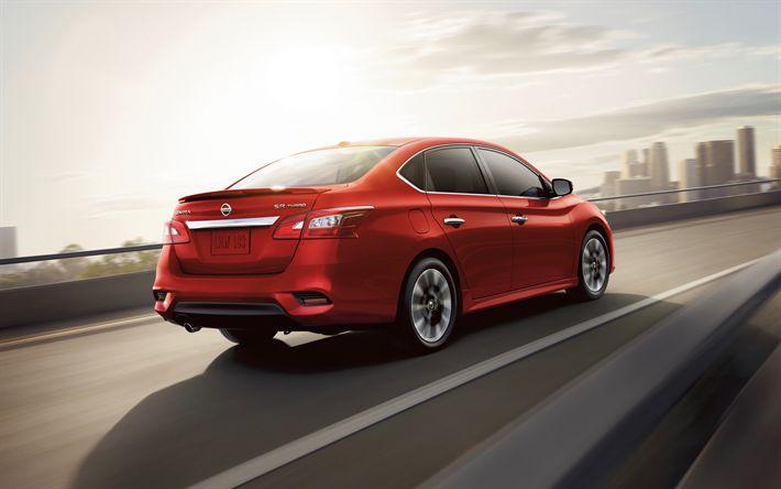 Download wallpapers Nissan Sentra, 2017, 4k, compact sedan, red new Sentra, Japanese cars, Nissan, USA