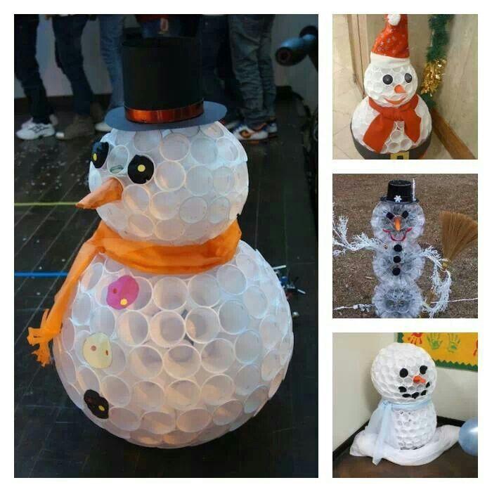 Plastic cup diy snowman