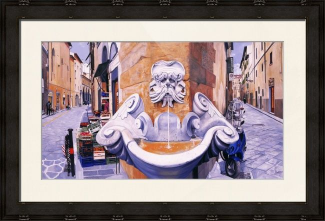 """Piazza Frescobaldi"" by Matthew Bates, Firenze, Italy // Piazza Frescobaldi is an original oil painting made with a fourth dimensional design. By stretching the image to the left and to the right we are able to see down both streets at the same time, which in reality would be impossible.When you buy this or any other of my Imageki... // Imagekind.com -- Buy stunning fine art prints, framed prints and canvas prints directly from independent working artists and photographers."