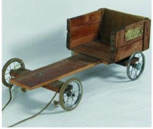 "A lot of boys made their own trashers ""go-carts"" from old pram wheels and wood"