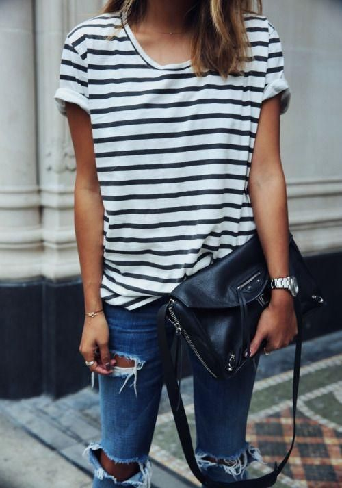 7d309376a3 Striped Scoop Short Sleeves Casual Loose T-shirt - May Your Fashion - 1