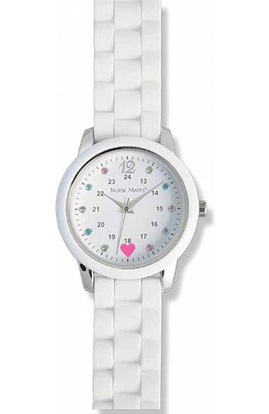 Multi-colored rhinestones add subtle sparkle to the Nurse Mates Women's Nurses Sparkle Watch. The silicone link strap feels comfortable while providing durability.Nurse Mates Women's Nurses Sparkle...