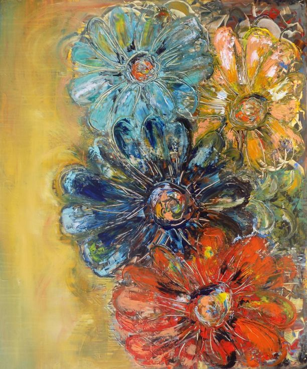 ARTFINDER: For you large paintings by Areti Ampi - Original abstract flowers, modern art, art decor paintings. Flowers have deep texture. This painting was created on museum quality gallery wrapped canvas. C...