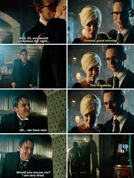 """""""Oswald, good evening. This is Isabella"""" - Ed, Isabella and Oswald #Gotham"""