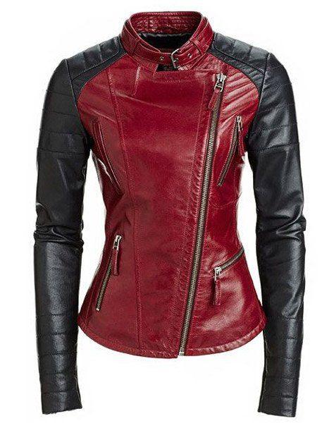 Élégant Collier Turn-Down des femmes Pure Color manches longues épissage PU Jacket