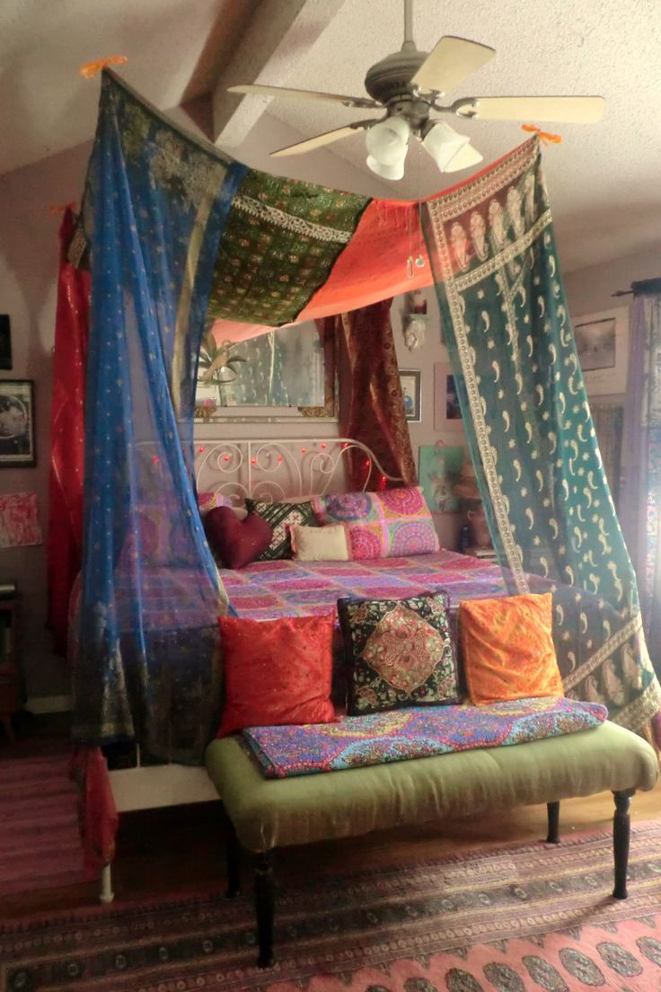 Diy bed canopy dorm - Bohemian Gypsy Bed Canopy By Babylonsisters On Etsy 375 00