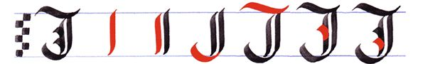 gothic writing: capital gothic letters A-Z: letter J