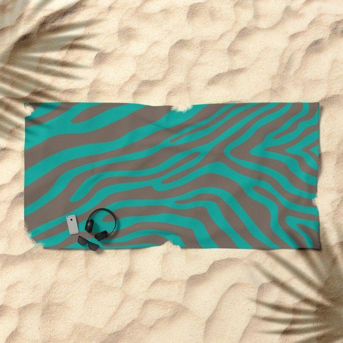 Summer Zebra: Brown Beach Towel by REALITY Studios | Society6