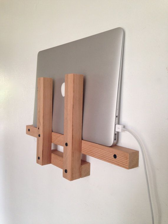 Laptop Holder // Laptop Wall Shelf // Reclaimed Wood. Store and charge your laptop in style!