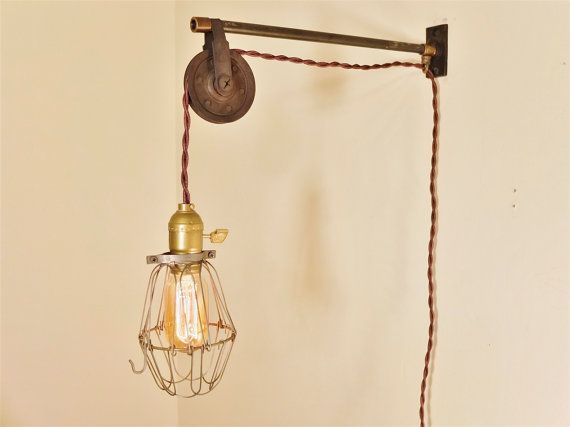 Vintage Industrial Pulley Sconce Wall Mount Cage by DWVintage, $174.99